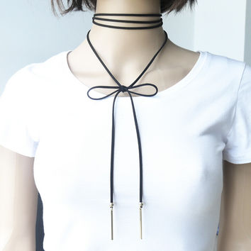 Vintage Women Long Leather Choker Necklace + Gift Box 13