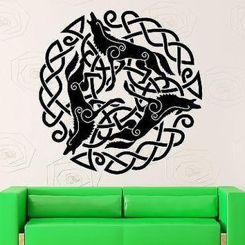 Wall Stickers Vinyl Decal Pattern Celtic Druid Ireland Irish Wolf Unique Gift (ig1870)