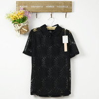 Romantic Lapel Collar Sun Flowers Pattern Short Sleeves Blouse Top 3 Colors