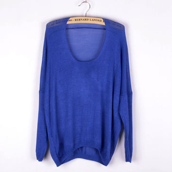 Blue Solid Irregular Pullovers Knitted Sweater for Women +Free Gift -Random Necklace -79