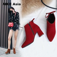 2018 Women Boots Flock Round Toe Winter Ladies Party Western Stretch Fabric Ankle Botines Mujer Open Botas Mujer  Feminina
