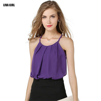 Casual Sleeveless O-neck Chiffon