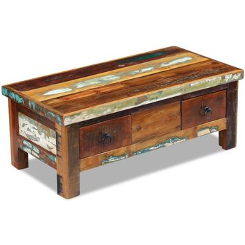 "Coffee Table Drawers Solid Reclaimed Wood 35.4"" x 17.7"" x 13.8"""