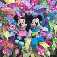 Easter Wreath, Mickey Minnie Easter Wreath, Spring Wreath, Spring Mesh Wreath, Ribbon Wreath, Front Door Wreath, Easter Mesh Wreath