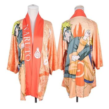 Naruto Sasauke ninja Anime  Uzumaki  Kimono Cosplay Costumes Unisex Yukata Outerwear Daily Haori Casual Cloak Cheerleading Uniform AT_81_8