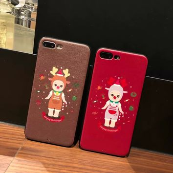 For iPhoneX 8 8Plus 7Plus Japan Korea Style Cute Christmas Kewpie Doll Soft Case