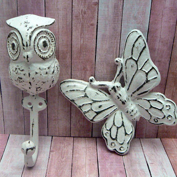 Owl Cast Iron Hook Butterfly Wall Decor Pair Set Big Eyed Woodsy Shabby Style Chic White Towel Coat Jewelry Keys Pet Leash Rustic Woodland