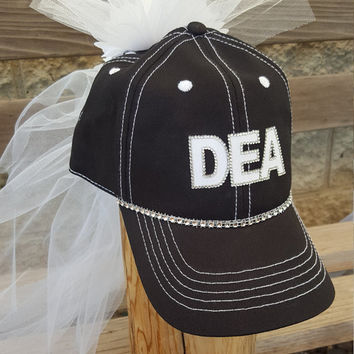 Bachelorette party hat, DEA Bride hat with veil, Themed or custom bride to be hat and veil for Police, DEA, Military Brides