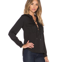 Lace-Up Flap Pockets Blouse