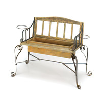 Pine Wood Garden Bench Planter