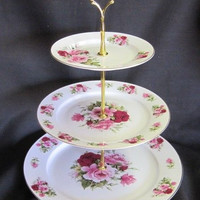 3 Tier Summertime Pink Bone China Cake Stand