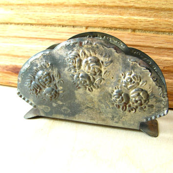 Vintage Rose Napkin Holder - Shabby Chic Napkin Holder - Patina Napkin Holder - Metal Napkin Holder