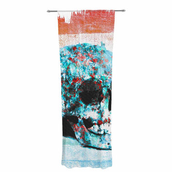 "Frederic Levy-Hadida ""Floral Skully 2 "" Coral Teal Decorative Sheer Curtain"