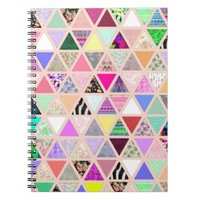 Vintage Abstract Floral Triangles Pastel Patchwork