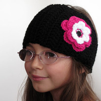 Crocheted Black Kids Earwarmer Headwrap