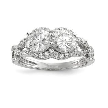 925 Sterling Silver Rhodium-plated Cubic Zirconia Two Stone Halo Ring