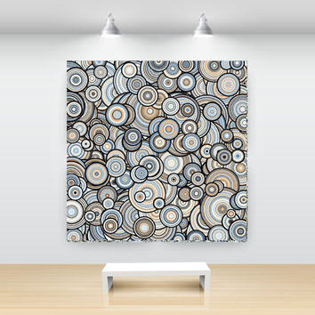 Sandstone, Taupe and Blue Particle Circles Abstract Art, open edition print, large sizes, by San Francisco artist Kristin Henry