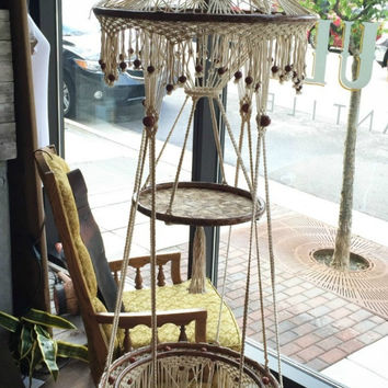 MACRAME HANGING TABLE - VINTAGE