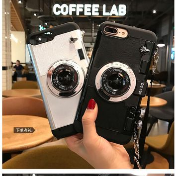 3D funny Retro Camera Phone Cases For iphone 7 6 6S Plus 5 5s 8 plus cover for iphone 10 X back coqeu With Lanyard