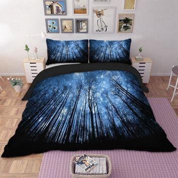 Wongs bedding 3d forest blue duvet cover Bedding set quilt Cover Bed Set 3pcs twin queen king size home textile