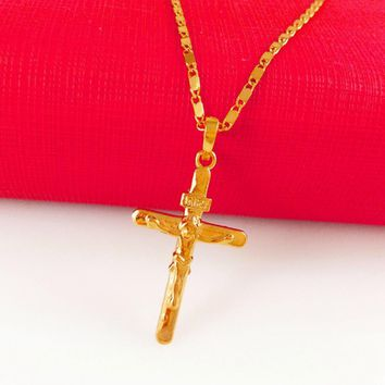 24k Gold Plated Necklace & Jesus Cross Pendant