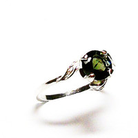 """Moldavite, moldavite ring, extraterrestrial, leaf green, solitaire ring, green outer space, s 6 3/4  """"Leafy Green"""""""
