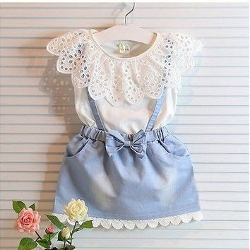 New Fashion Girls cowboy Short sleeve Bow cotton dress baby Girls Summer clothes kids girls Ball Cute dress 2 3 4 5 6 7 Years