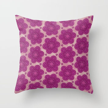 Floral Flower Girly Trendy Boho Pattern Throw Pillow by AEJ Design