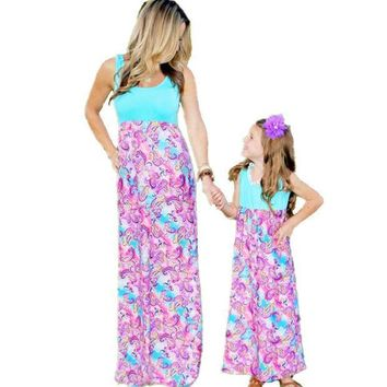 ESBON5U Summer Mom And Daughter Dress Girl Striped Clothing Women Long Family Look Bohemian Beach Matching Mother Daughter Dress Maxi