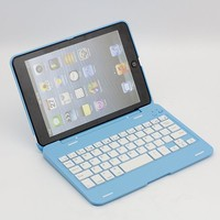 SUPERNIGHT® 135° Rotating Angle Wireless Bluetooth Keyboard Case Cover Stand Combo for Apple iPad Mini Aluminum Blue for Women Girls