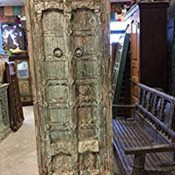 Mogulinterior Antique Haveli Armoire Furniture Vintage Distressed Storage Cabinet Hand Carved Indian Armoire Mediterranean Decor