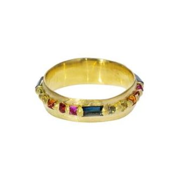 Wide Pinched Rainbow Sapphire Eternity Ring