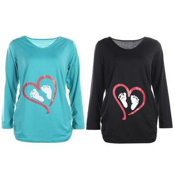 Spring Footprints Heart Pregnant Women Maternity Clothing Basic Long Sleeve Cotton Bottoming T-shirt Tops Pregnancy Clothes