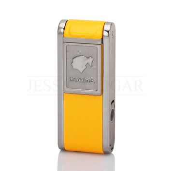 COHIBA Mens Gadgets 2 Fire Flame Jet Torch Cigar Lighter Refillable Windproof Butane Gas Lighters With Cigar Punch Gift Box