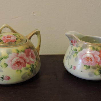 Vintage Nippon Hand Painted Porcelain  American Beauty Rose Sugar and Creamer
