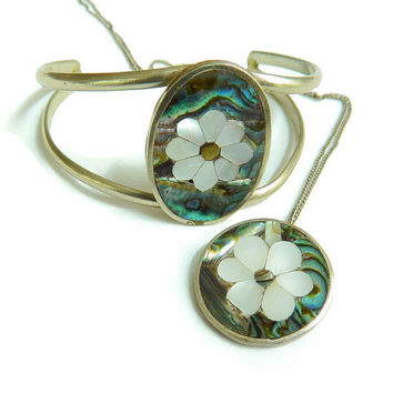 Mexico Silver Flower Bracelet and Pendant Set Vintage Mother of Pearl and Abalone