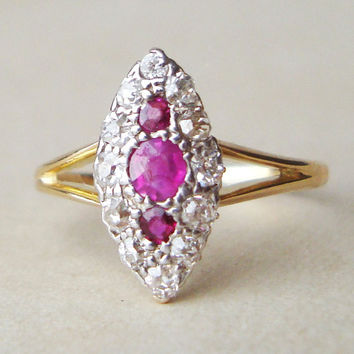 Art Deco Diamond & Ruby Marquise Engagement Ring, 18k Gold, Ruby and Diamond Ring, Approx.Size US 5.75