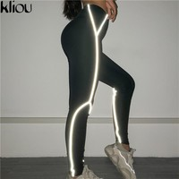 Kliou 2018 new women fitness Reflector leggings push up high waist night Reflector strap patchwork sporting fitness leggings