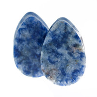 Sodalite Teardrops Stone Plugs (8mm-22mm)