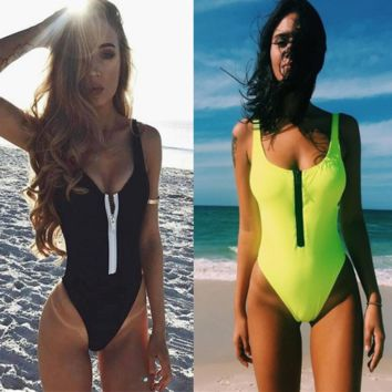 Woman's zipper Solid One-Piece Suits Swimwear Retro Halter Swimsuit Hollow-Carved Bra Bikinis Set Push Up Bathing Suit Biquini