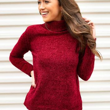 Happy Heart Red Chenille Sweater