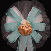 Gold Shell Beach Aqua Wedding Pew Bows