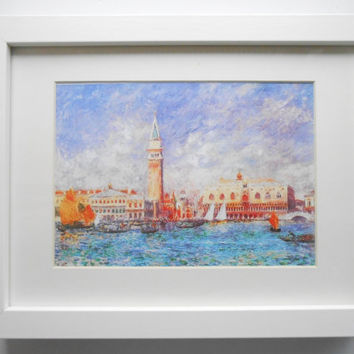 308 - Print with frame, Venice, Doge's Palace,  Venice print, Venice stamp, Venice frames, Anniversary gift,  Gift for teacher, Friend gift