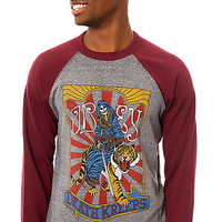 The Death Kreeps Raglan Crewneck in Heather Grey and Burgundy