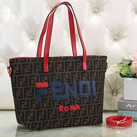 FENDI Fashionable Women Shopping Leather Handbag Tote Shoulder Bag Crossbody Satchel Red