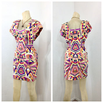 Emilio Pucci dress Kaleidoscope Vintage 1960s mini cotton dress
