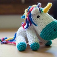 Handmade Crochet Unicorn Amigurumi Stuffed Animal