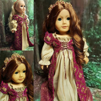"""Historical 18 inch doll clothes """"Renaissance Royale""""  renaissance gown beaded Maid Marion medieval sequined gown Mary Queen of Scots"""