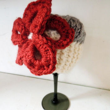 Knit Baby Poinsettia Bold Contrast Hat // wool newborn photography prop color contrast large floppy flower embellishment