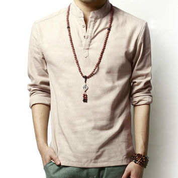 Mens Casual Button Liner Solid Loose Shirt